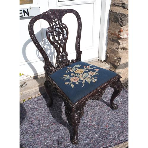 Chippendale Carved Mahogany Library Chair (1 of 8)