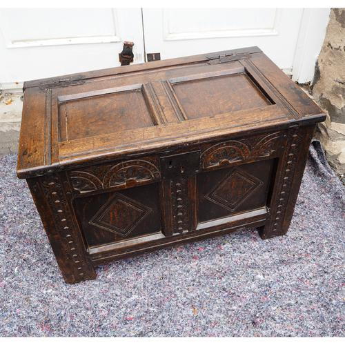 Baby Size 17th Century Carved Oak Coffer (1 of 8)