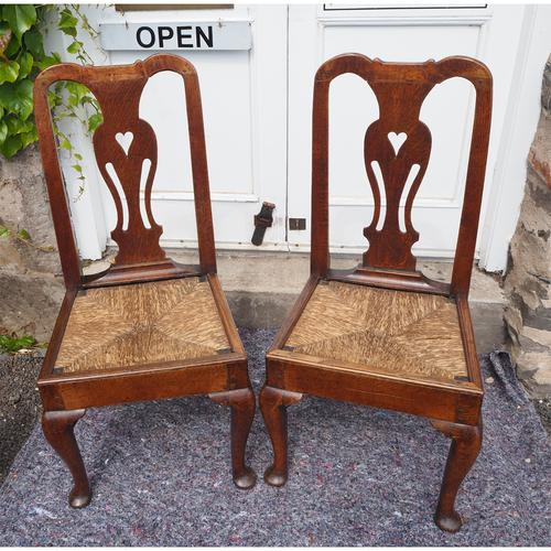 Pair of Early Georgian Oak Cab Leg Chairs (1 of 7)