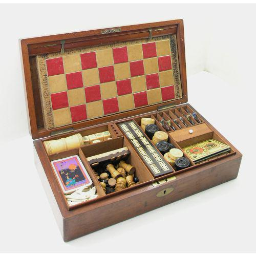 Victorian Mahogany Boxed Games Compendium, Jacques c.1870 (1 of 1)