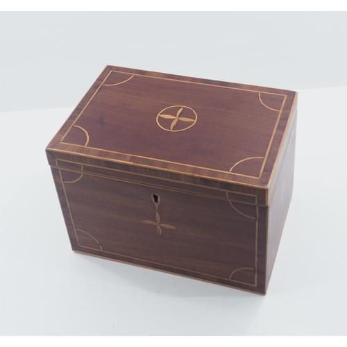 Pretty Georgian Mahogany & Inlaid Tea Caddy (1 of 1)