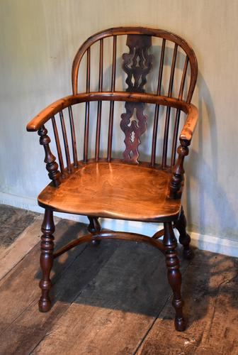 Superb Yew Wood Low Back Windsor Chair (1 of 11)