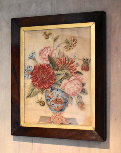 Victorian Needlework of a Vase of Flowers (1 of 9)