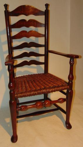 American Georgian Cherrywood Ladder Back Armchair (1 of 9)