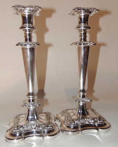 Pair of Edwardian Silver Plated Candlesticks (1 of 6)