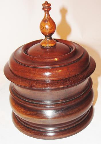 Dutch Turned Mahogany Tobacco Pot c.1820 (1 of 1)