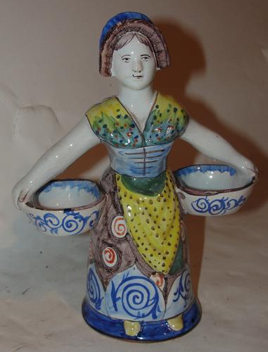 French Faience Double Sided Lady Salt Cellar (1 of 1)