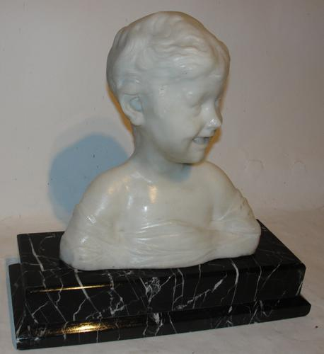 Victorian White Marble Bust Smiling Boy (1 of 1)