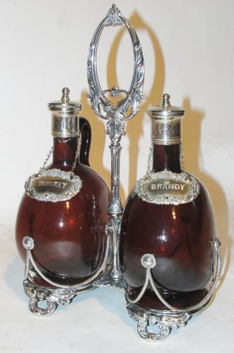 Victorian Silver Plated Spirit Stand with Amber Bottles (1 of 1)