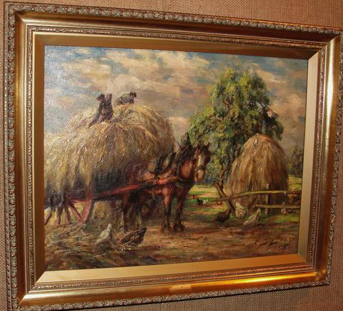 Oil on Canvas Hay Wain at Taybank by J.C.Gray (1 of 1)