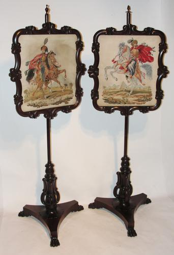 Pair of Scottish Rosewood Pole Screens c.1830 (1 of 1)