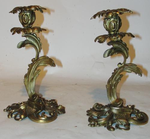 Pair of Victorian Ormolu Rococo Candlesticks (1 of 1)