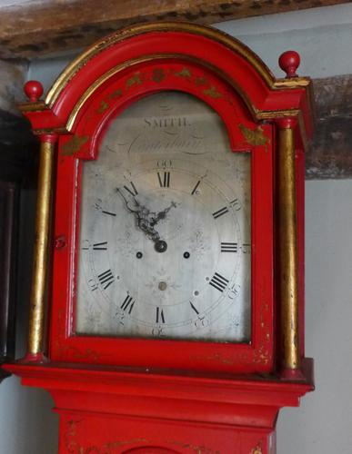 George III Red Lacquer Longcase Clock (1 of 1)