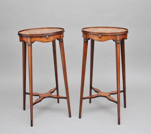 Pair of Sheraton Revival Mahogany & Inlaid Urn Stands (1 of 15)