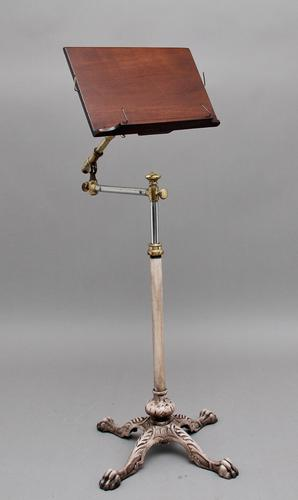 19th Century Brass & Mahogany Reading Stand (1 of 8)