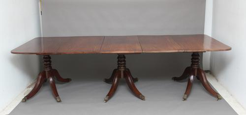 Early 20th Century Mahogany Three Pedestal Dining Table c.1920 (1 of 1)