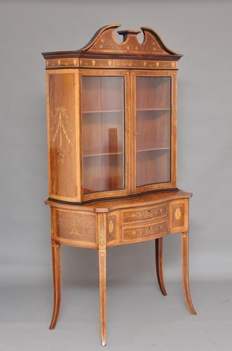 19th Century Inlaid Rosewood Display Cabinet c.1890 (1 of 1)