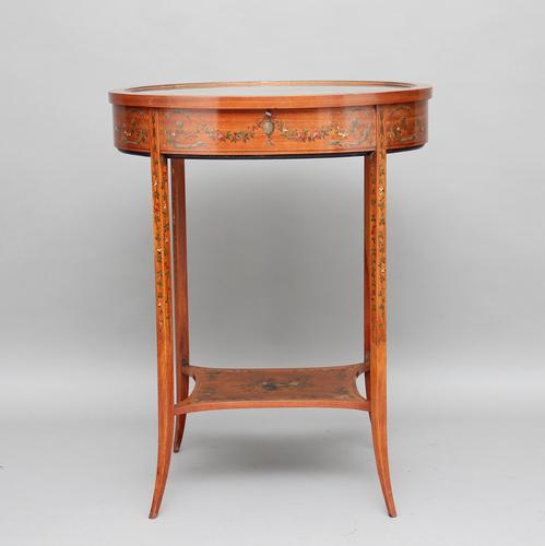 Early 20th Century Satinwood & Painted Bijouterie Table (1 of 11)