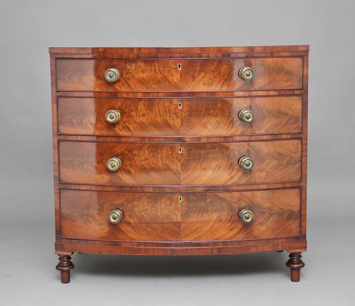 19th Century Mahogany Bowfront Chest of Drawers (1 of 1)