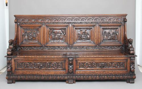 Large 19th Century Carved Oak Box Settle (1 of 1)