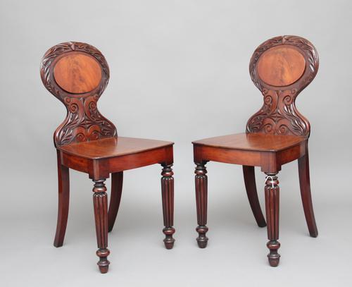 Pair of 19th Century Mahogany Hall Chairs (1 of 1)