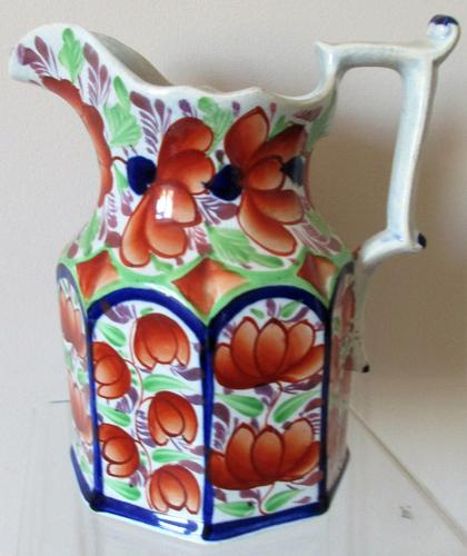 """Antique Victorian Gaudy Welsh """"Gwent"""" Pattern Pottery Jug (1 of 6)"""