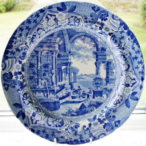 "Antique English Georgian Blue & White Transfer ""Ancient Rome"" Pattern Pottery Plate ~ Thomas & John Carey (1 of 1)"