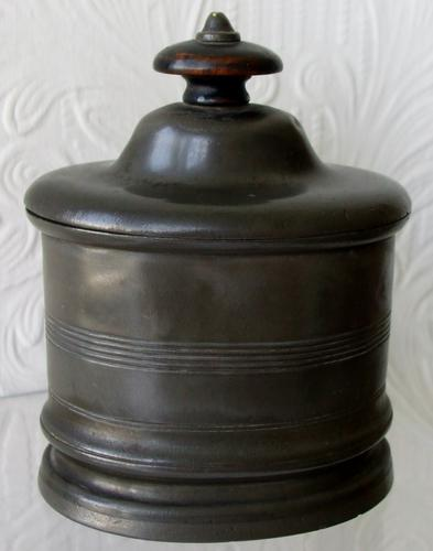 Antique English Victorian Pewter Table Snuff / Tobacco Box (1 of 1)
