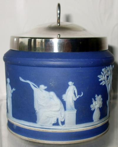 Antique English Victorian Wedgwood Jasperware Biscuit Barrel (1 of 1)