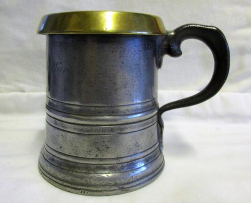 Antique English Victorian Pewter Pint Grain Measure ~ Leytonstone (1 of 1)