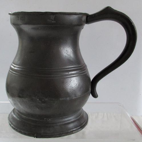 Antique English Georgian Pewter Pint Baluster Measure ~ Yates & Birch ~ Cotterell O.P. 5347 (1 of 1)