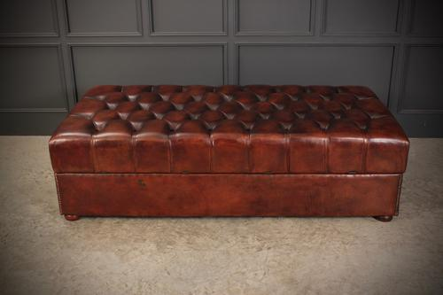 Very Large 18th Century Buttoned Leather Ottoman (1 of 16)