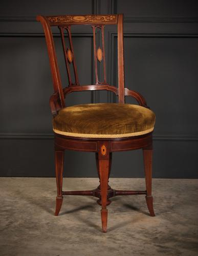 Mahogany Marquetry Inlaid Revolving Harpists Chair (1 of 12)