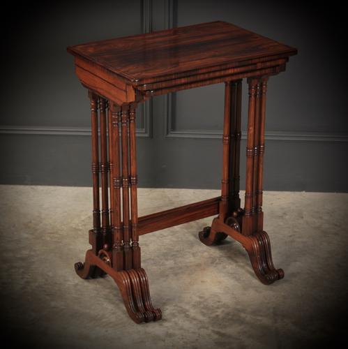 Superb Regency Rosewood Nest of 3 Tables (1 of 19)