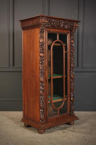 Carved Oak Glazed Cabinet c.1880 (1 of 11)