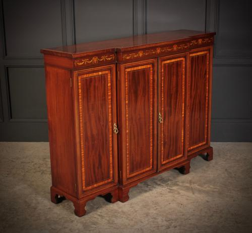 Magnificent Marquetry Inlaid Breakfront Bookcase (1 of 12)