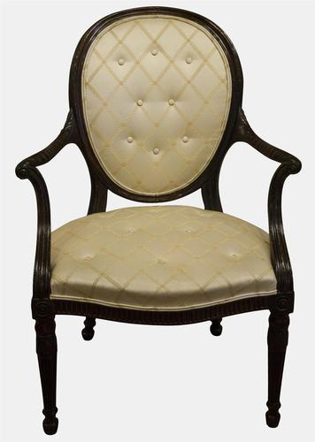 Hepplewhite Period Upholstered Mahogany Elbow Chair (1 of 5)