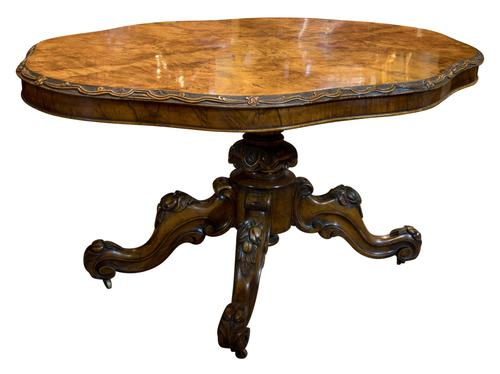 Exceptional Burr Walnut Loo Table c.1860 (1 of 8)