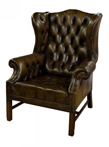 Olive Green Leather Wing Chair c.1960 (1 of 6)