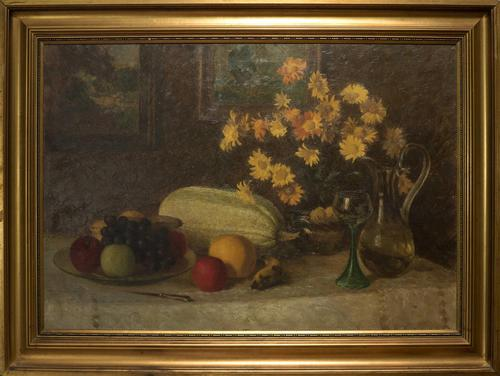 Oil Painting On Canvas of Still Life C.1900 (1 of 11)