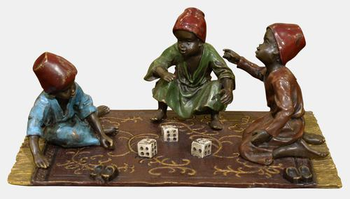 Austrian Painted Bronze of Boys Playing Dice c.1890 (1 of 1)