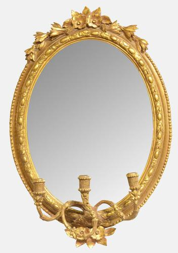 Late 19th Century Oval Carved Mirror (1 of 1)