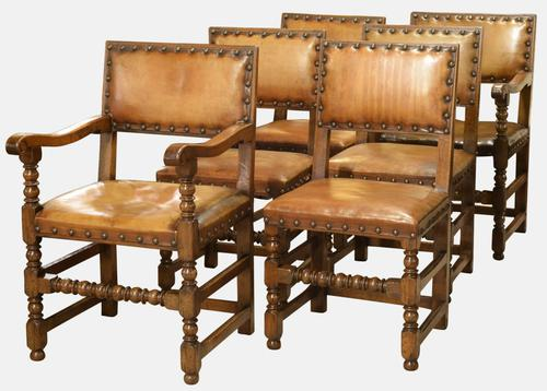 Set of 6 Leather & Oak Dining Chairs c.1900 (1 of 1)