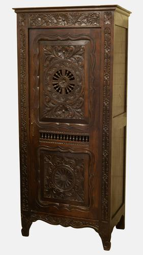Small Carved Oak Breton Hall Cupboard c.1900 (1 of 1)