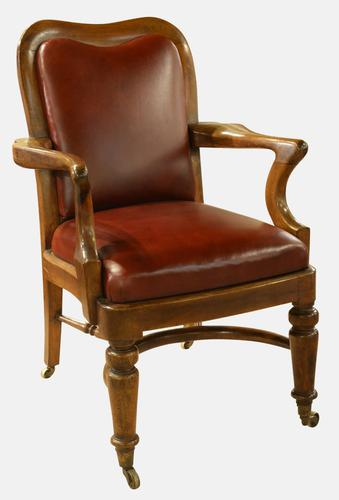 Victorian Mahogany & Leather Desk Chair (1 of 1)