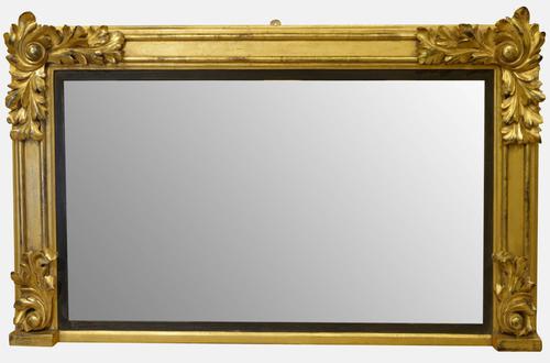 William IV Carved Wood & Gilt Overmantel Mirror c.1830 (1 of 1)