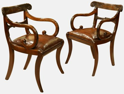 Pair of Regency Period Mahogany Carver Chairs (1 of 5)