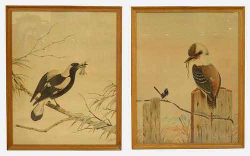 Pair of Australian Watercolours by Tom Howers c.1940 (1 of 6)