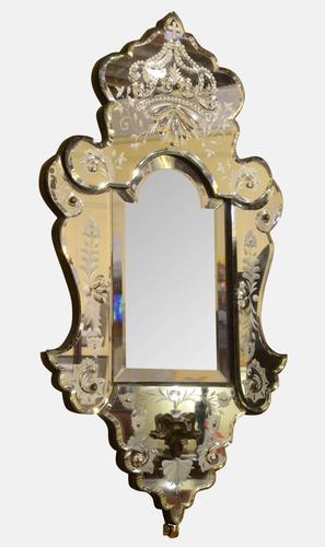 19th Century Italian Etched Glass Girandole Sconce Mirror (1 of 1)