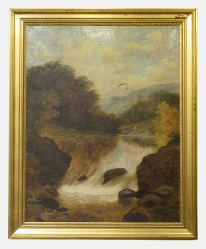 19th Century Oil on Canvas of a Waterfall (1 of 1)